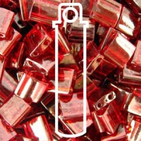 Tila 5x5mm 2 hole beads Garnet Gold Luster 7.2g