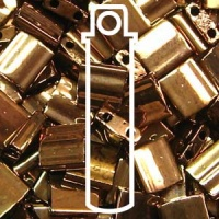 Tila 5x5mm 2 hole beads Dark Bronze 7.2g