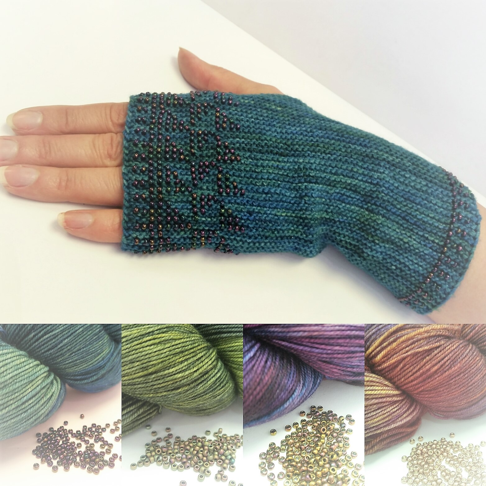 New Knitting kits Beaded Fingerless gloves launched