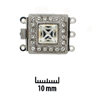 Rhodium plated clasp with Swarovski crystal  11,5 x 11,5 mm