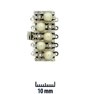 Claspgarten Rhodium plated clasp 26 x 12 mm with Swarovski Crystal and white pearls