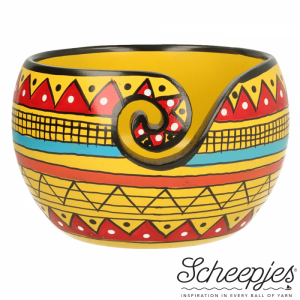Scheepjes Yarn Bowl - mango wood with yellow stripe pattern