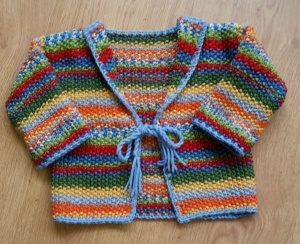 Knitted Kimono style baby cardigan