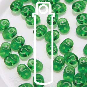 Czech Superduo Beads 2.5x5mm 24g tube - Chrysolite