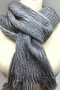 Only Lines Scarf knitting kit - Cloudy Day colour