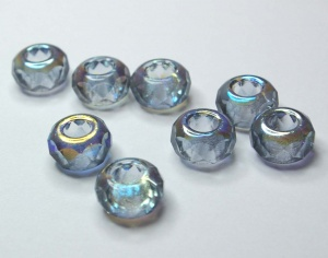 GREY half AB coated large hole beads