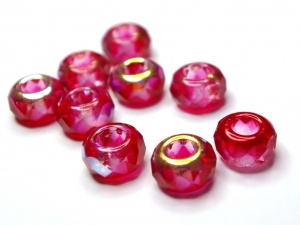 Red half AB coated large hole beads