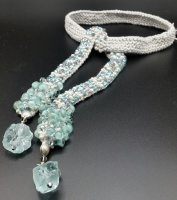 Knitted Lariat necklace with sea glass
