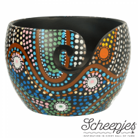 Scheepjes Yarn Bowl - mango wood with Aboriginal painting