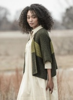 Blue Sky Fibers Janesville Jacket knitting Kit in Wild Thyme and Ivy