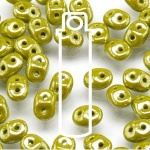 Czech Superduo Beads 2.5x5mm 24g tube - Opaque Green Luster