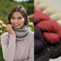 Kyle Cowl knitting kit in colour palette 2