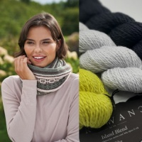 Kyle Cowl knitting kit in colour palette 1