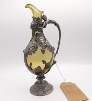 19th Century Glass and Pewter Ewer