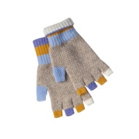 Eribe knitwear Block fingerless gloves - mirage