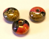 Greek Enameled Ceramic Round Bead 18x10 mm