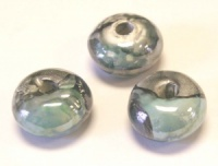 Greek Enameled Ceramic Round Bead 18x10mm