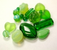 Czech Glass Bead mix 250g green