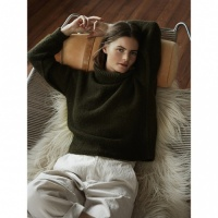 Isager jumper knitting kit London in khaki green