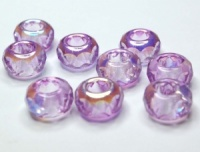 LAVANDER half AB coated large hole beads