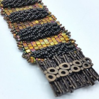 Odd count peyote stitch bracelet kit - bronze