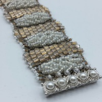 Odd count peyote stitch bracelet kit - frost and pale gold