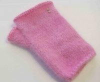 Orkney Angora Fingerless Gloves in pink