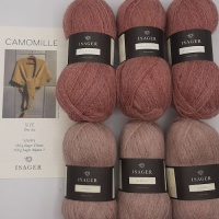Isager Yarns knitted shawl kit CAMOMILLE - old rose