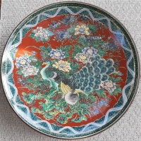 Large Chinese peacock decorated dish