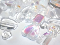 Czech Glass Bead mix 250g crystal&white